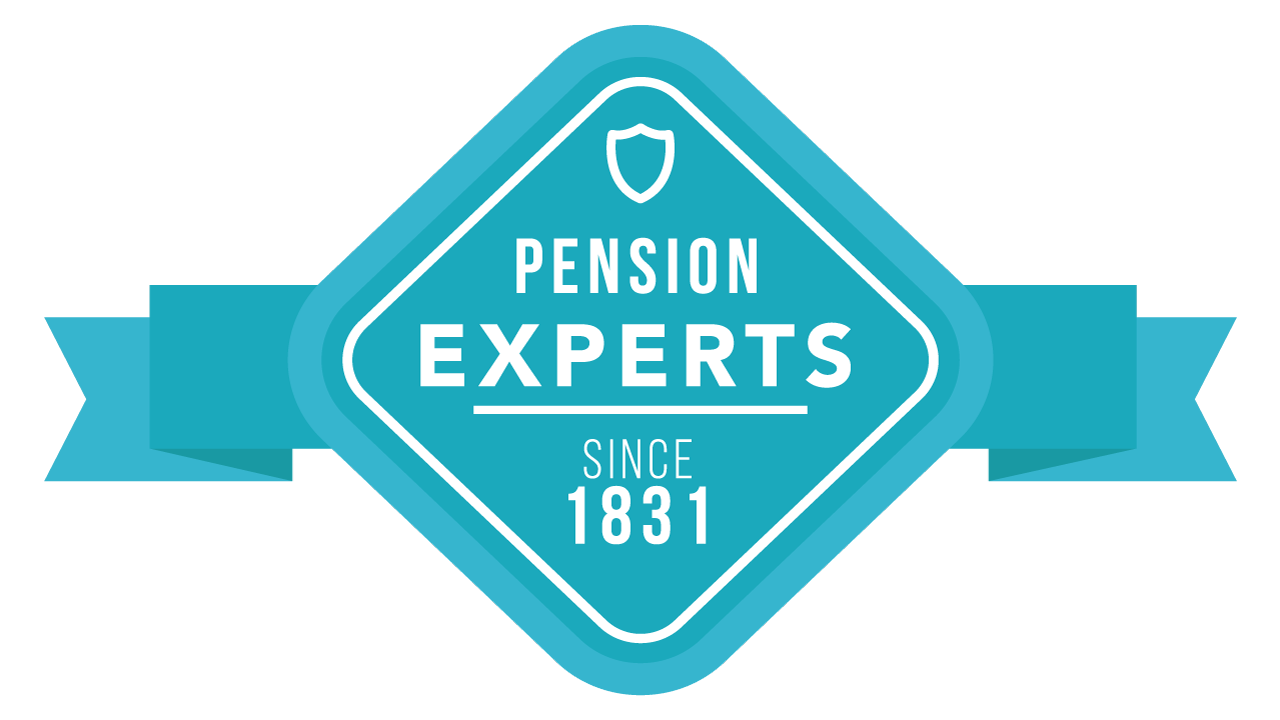 A blue and white emblem saying pension experts since 1831